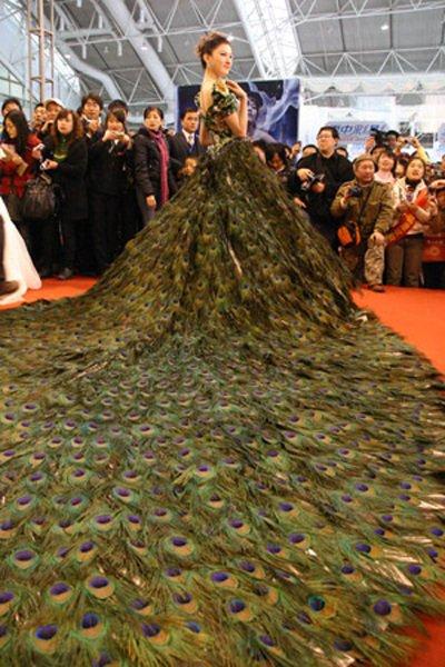 Свадебное платье из 2009 павлиньих перьев